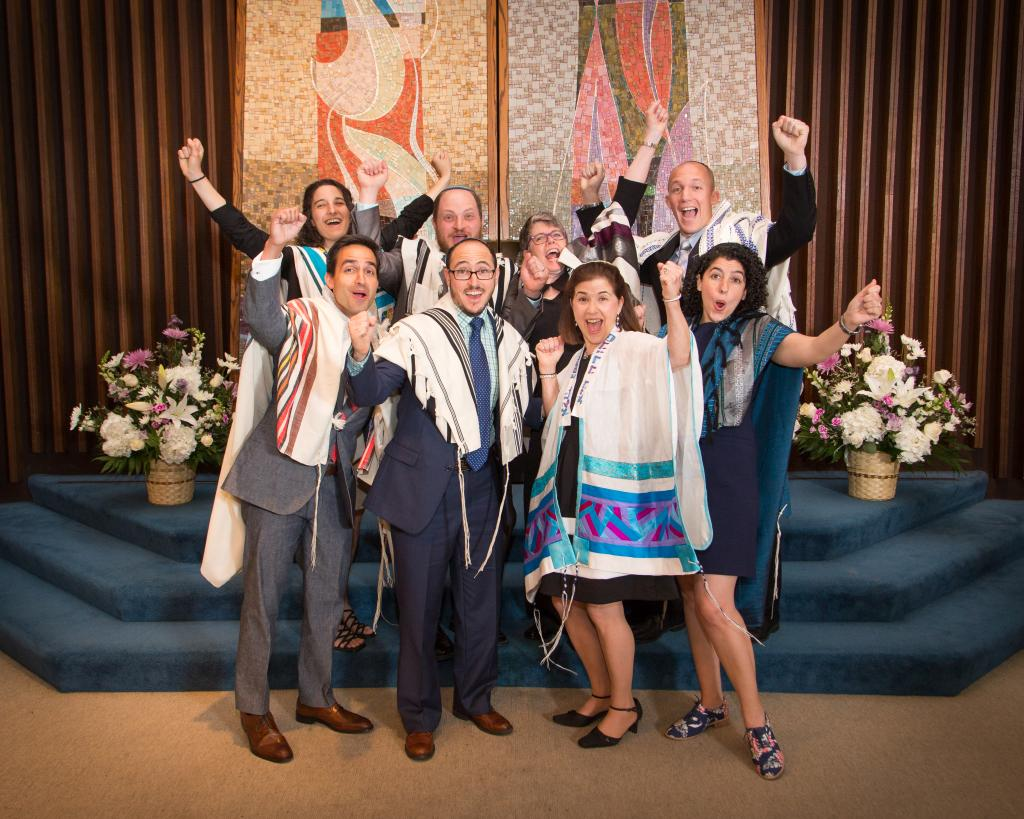 Back row, left to right: Rabbis Ruhi Rubenstein, David Basior, Kate Cook and Jason Bonder. Front row, left to right: Rabbis George Wielechowski, Jacob Lieberman, Shelley Barnathan, and Elana Friedman.