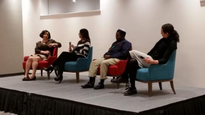 From left: Laurie Frankel, Jessica Tayler, Koach Baruch Frazier and Moriah Levin discuss being transgender in the Jewish community.