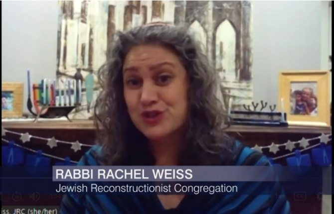 Rabbi Rachel Weiss ('09) appearing on WTTW / PBS Chicago Dec. 7, 2021