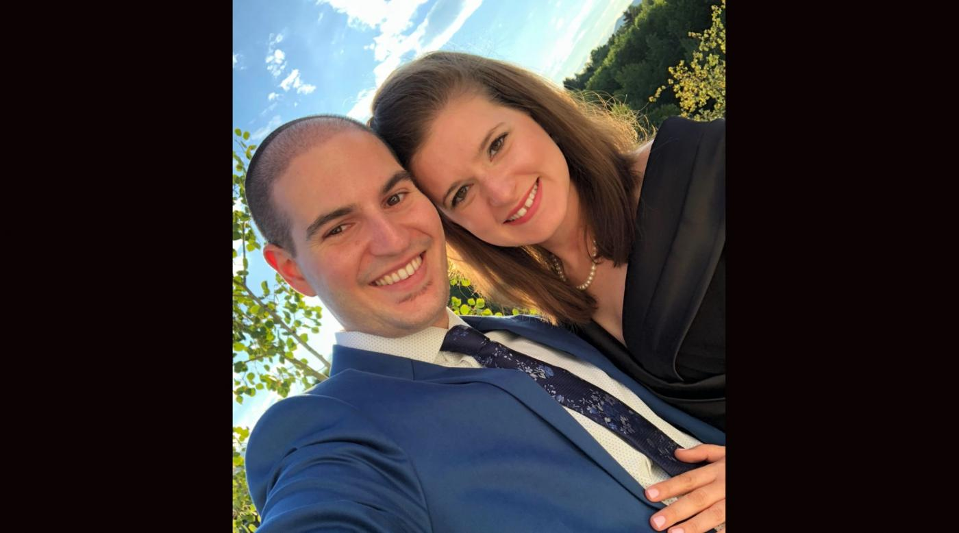 Rabbi Michael Perice and Rachel Perice taking a selfie together