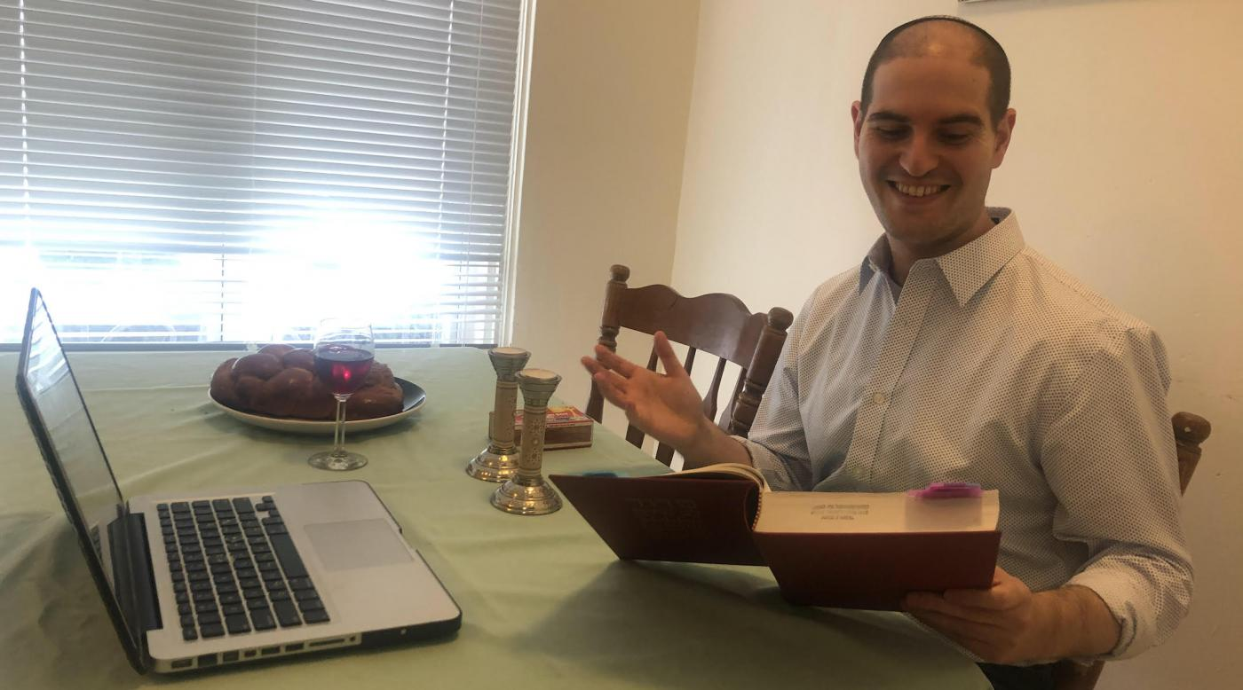 Rabbi Michael Perice ('20) leads virtual services for his new synagogue in New Jersey from his home in Philadelphia.