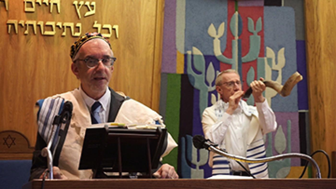 Rabbi Moti Rieber leads High Holiday services at Temple Beth Sholom in Topeka.